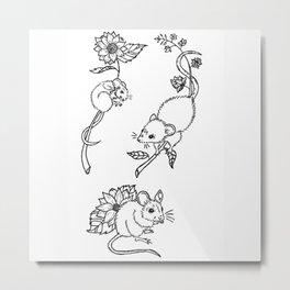Three Mice with Sunflowers Illustration Metal Print