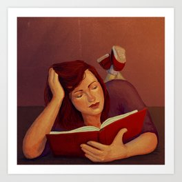 Book reading Art Print
