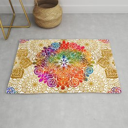 Bohemian 1960's Mandala Pattern of Peace Rug