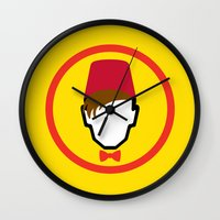 fez Wall Clocks featuring Man With Fez by Evan Ayres