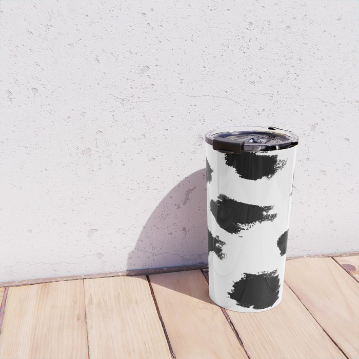 Black And White Delight - abstract art by Ann Powell Travel Mug
