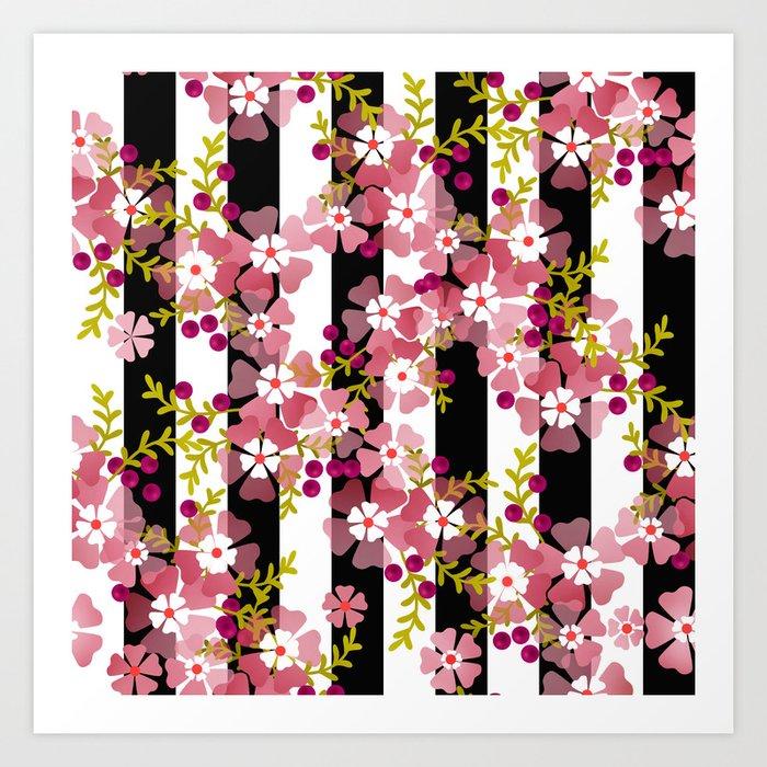 Floral pattern black and white striped background Kunstdrucke