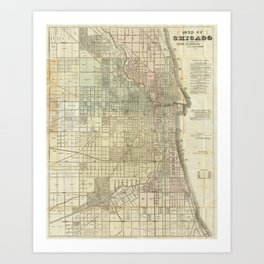 Vintage Map of Chicago (1857) Art Print