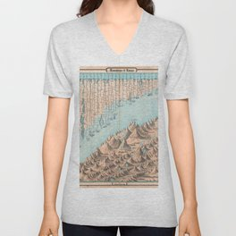 Chart of the World's Mountains and Rivers - Geographicus Unisex V-Neck