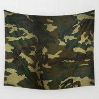 camouflage Wall Tapestries featuring Camouflage by Maxvision