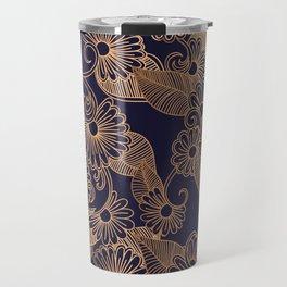 Flower Golden Travel Mug