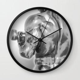 Male Chrome Bodybuilder (Black and White) Wall Clock