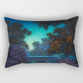 Blue Fountain at Twilight by Maxfield Parrish Rectangular Pillow