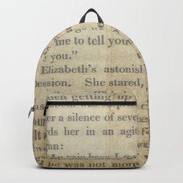 Pride and Prejudice  Vintage Mr. Darcy Proposal by Jane Austen   Backpack