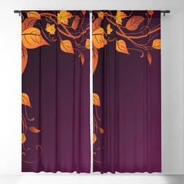 Maroon Autumn Leaves Blackout Curtain