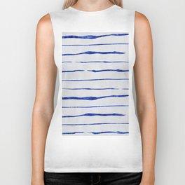 Blue Wiggly Stripes Pattern Biker Tank