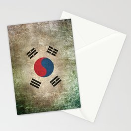 Old and Worn Distressed Vintage Flag of South Korea Stationery Cards
