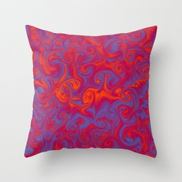 SIREN deep coral and periwinkle abstract flames Throw Pillow