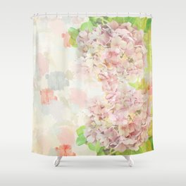 Pink Hydrangeas on a soft pastel abstract background Shower Curtain