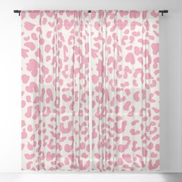Pink Leopard Print Sheer Curtain