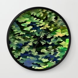 Foliage Abstract Pop Art In Green and Blue Wall Clock