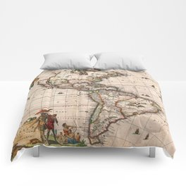 North & South America map 1658 with 2017 enhancements Comforters