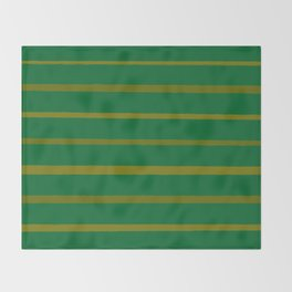 Emerald Green and Honey Gold Thin Stripes Throw Blanket