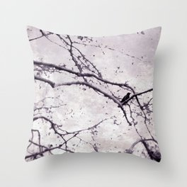 Winter Crow Throw Pillow