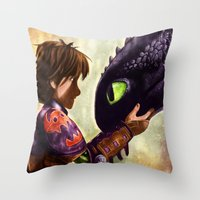 hiccup Throw Pillows featuring How to Train Your Dragon - Hiccup and Toothless by p1xer