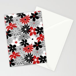 Funky Flowers in Red, Gray, Black and White Stationery Cards