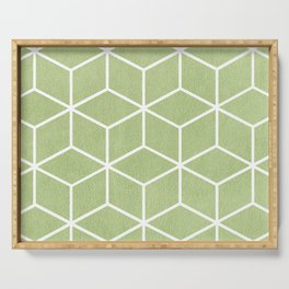 Lime Green and White - Geometric Textured Cube Design Serving Tray