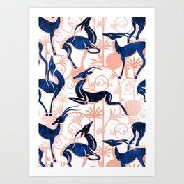 Deco Gazelles Garden // white background navy animals and rose metal textured decorative elements Art Print