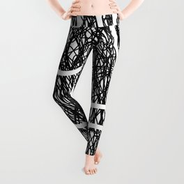 Scribble Ripples - Abstract Black and White Ink Scribble Pattern Leggings