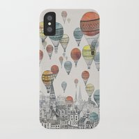 black cat iPhone & iPod Cases featuring Voyages over Edinburgh by David Fleck