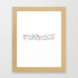 Neon Scribs Framed Art Print