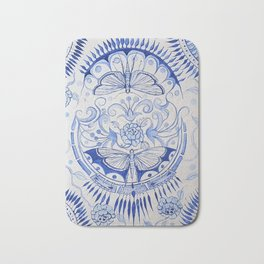Blue Dragonfly & Rose Bath Mat