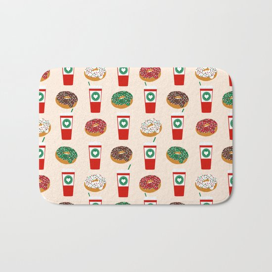 Coffee donuts foodie brunch breakfast desserts coffee lovers gifts Bath Mat