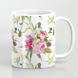 Elegant blush pink green yellow watercolor floral Coffee Mug