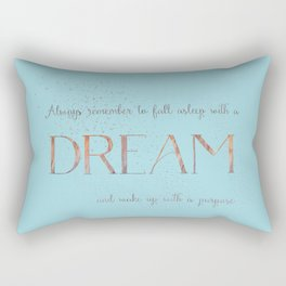Always remember to fall asleep with a dream - Gold Teal Vintage Glitter Typography Rectangular Pillow