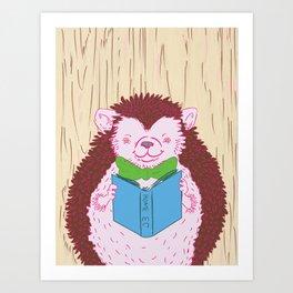 Grab a Book - Home Economics - Hedgehog Love Art Print