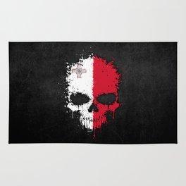Flag of Malta on a Chaotic Splatter Skull Rug