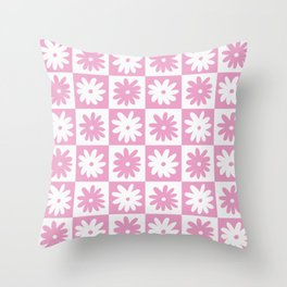 Pink And White Checkered Floral Pattern Throw Pillow