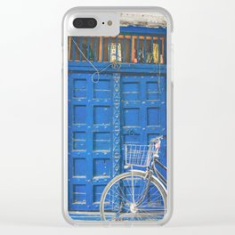 vintage blue door with bicycle Clear iPhone Case