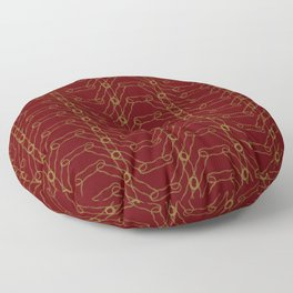Maroon and Gold Spiro Pattern Floor Pillow