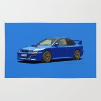 subaru Area & Throw Rugs featuring Subaru Impreza 22B STI Type UK Sonic Blue by Digital Car Art