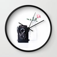 vintage camera Wall Clocks featuring camera by Ingrid Beddoes