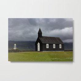 Budir black church Snæfellsnes Peninsula Iceland Metal Print