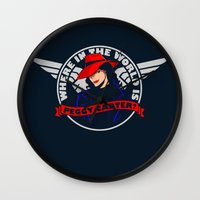 peggy carter Wall Clocks featuring Where in the World is Peggy Carter? by Aaron Synaptyx Fimister