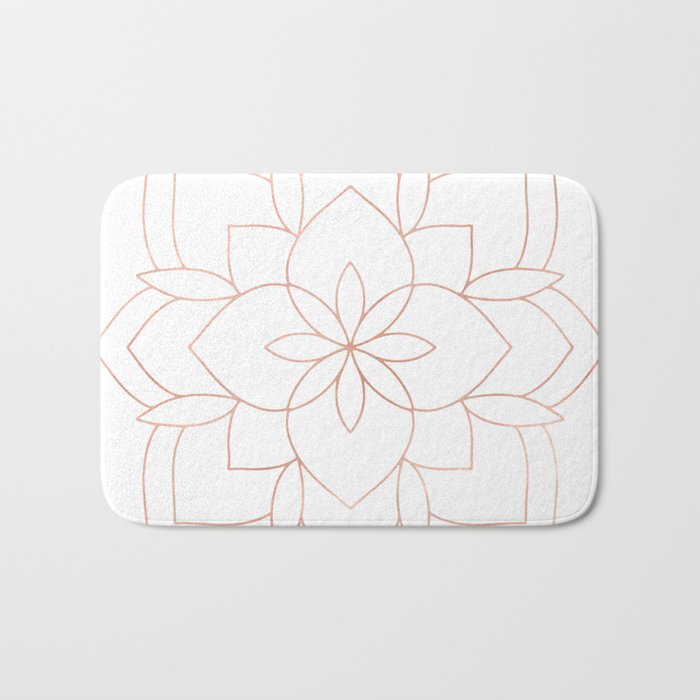 Mandala Rose Gold Pink Art Deco Bath Mat