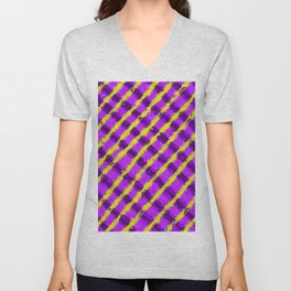 line pattern painting abstract background in purple and yellow Unisex V-Neck
