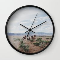 large Wall Clocks featuring Running Horses by Kevin Russ