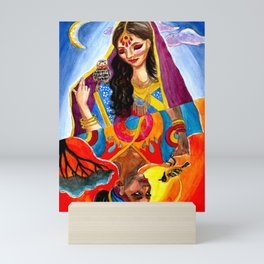African and Indian Girls - Day VS Night Mini Art Print
