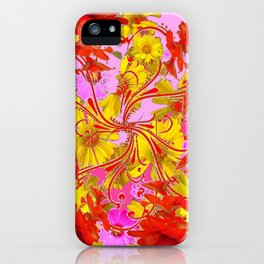 AWESOME RED AMARYLLIS & YELLOW COREOPSIS RED ABSTRACT GARDEN iPhone Case