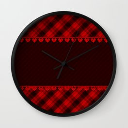 Red brown plaid, plaid blanket, red and brown pattern, patchwork, folklore, rustic style, elegant pa Wall Clock