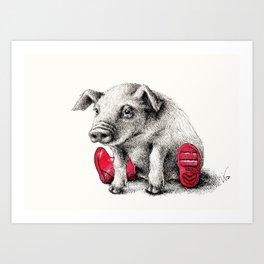 Piggy in Welly Art Print